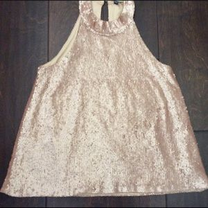 Beautiful nude top made of  sequin